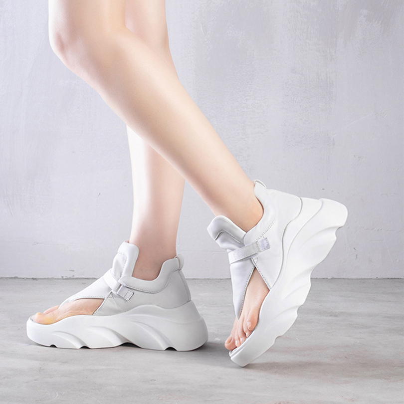 Retro Style Platform Cow Leather Women High Cover Heels Wedges Sandals black Riding Shoes For Woman Summer Cool Boots Rubber2019
