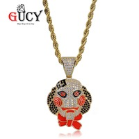 GUCY Hip Hop 69 Saw Clown Pendant Necklace Iced Out Cubic Zircon Gold Silver Saw Horror Movie Theme Necklaces Men's Charm Gifts