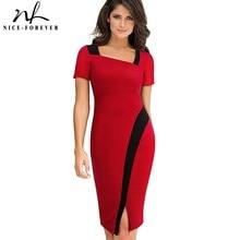Nice-forever Vintage Elegant Solid Color Patchwork Wear to Work Split vestidos Bodycon Office Business Sheath Women Dress B442