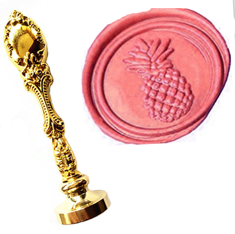 Vintage Pineapple Custom Picture Logo Luxury Wax Seal Sealing Stamp Brass Peacock Metal Handle Gift Set жидкая помада kiss new york professional belle soft matte lip cream 04 цвет 04 barely rose variant hex name aa6876