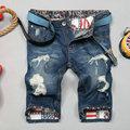 2016 Sale Limited Hole Mid Bermuda Short Jeans Homme Summer Male Slim Straight Knee Length Shorts Denim For Men Europe Trade