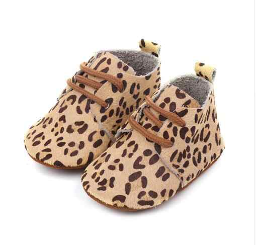 2019 Genuine Leather Baby moccasins shoes Leopard print Baby Girls Soft sole Horse hair Boys First walkers Lace up toddler shoes