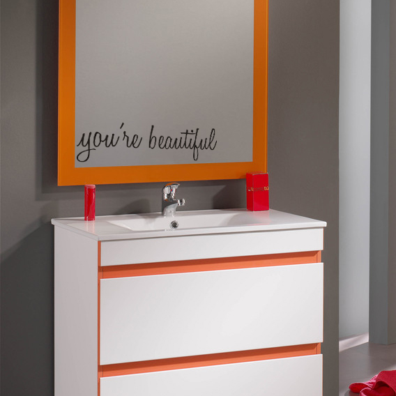 JJRUI YOURE BEAUTIFUL Vinyl Wall Decal Sticker Bathroom Mirror Inspirational Art 21 COLOR 118