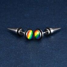 Lover's Stainless Steel Cone Shape Earrings Gay Screw Rainbow Stud Earring LGBT Hypoallergenic Ear Jewelry Gift for Women Men