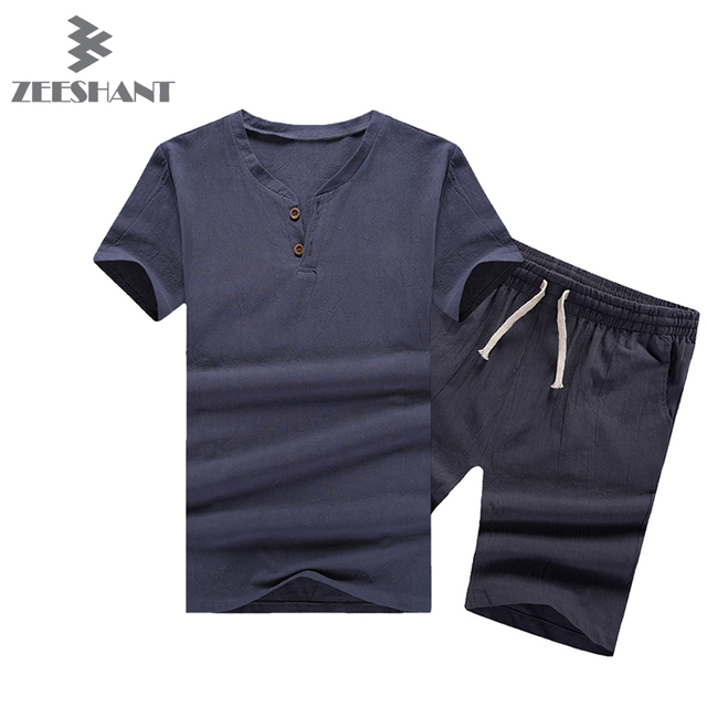 2 PCS! Mens Linen CottonT-shirt Suit Set Summer Style Short Sleeve T-shirt & Shorts Causal Male Set Tracksuit in Man Shorts