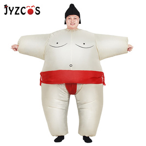 Image 1 - بدلة سومو للبالغين قابلة للنفخ من JYZCOS أزياء مصارع ملابس رجل دهون بدلة سومو ملونة للركض ملابس ماراثون تأثيري للهالوين