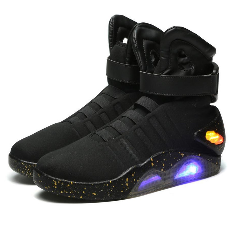 Adults USB Charging Led Luminous Shoes For Men's Fashion Light Up Casual Men back to the Future Glowing Sneakers Free shipping-in Sneakers from Mother & Kids    1