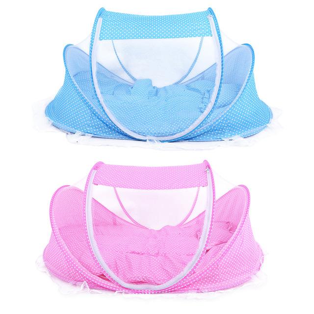 4 unids/set Cuna Establece Tipo Plegable Portátil Cómodo Cojín Infantil con Sellado Mosquito Mosquito Net Bebé ropa de Cama de Bebé