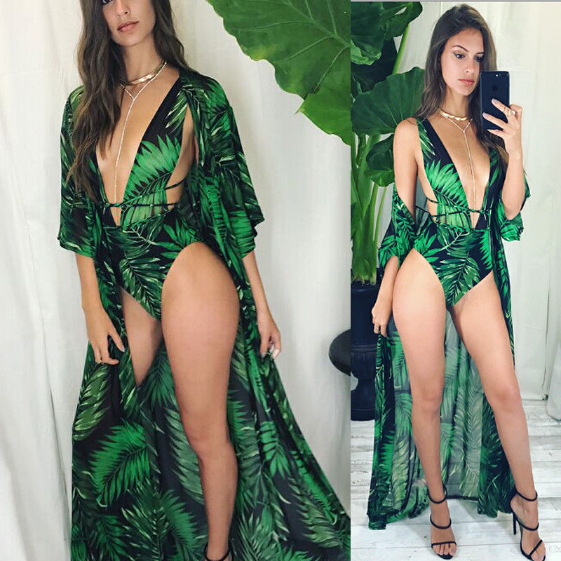 2019 Bohemian Printed Cover-ups Sexy Summer Beach Dress Green Tunic Women Beachwear Swimsuit Cover Up Bikini Wrap Sarongs Bikini
