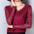 Fashion Embroidery Women White Lace Blouses Plus size S-4XL Long Sleeve Girls Casual Black / Red Shirts