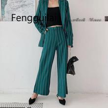 дешево!  Vintage Chic Зеленый Полосатый Брюки Костюмы Модные Карманы Одной Кнопкой Зубчатый Пиджак Молния