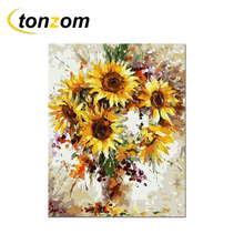 RIHE Blooming Sunflower Vase Diy Painting By Numbers Abstract Oil Painting On Canvas Cuadros Decoracion Acrylic Wall Art Gift rihe amused expression diy painting by numbers abstract cute cat oil painting on canvas cuadros decoracion acrylic wall art