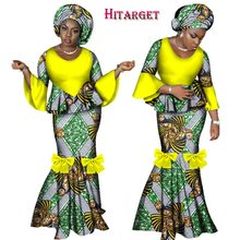 купить 2019 African Dresses for Women 2 Pieces Skirt Set African Wax Print Traditional Clothing Dashiki Crop Top and Skirt Sets WY2461 дешево