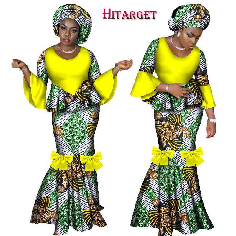 2019 robes africaines pour femmes 2 pièces jupe ensemble africain cire imprimer vêtements traditionnels Dashiki haut court et jupe ensembles WY2461