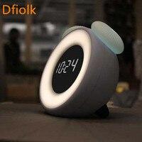 LED Mute Alarm Clock Creative Bedroom Bedside Electronic Clock Smart Children Cute Cartoon Rechargeable Night Light