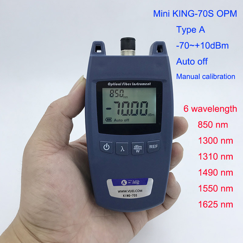 FTTH Mini Medidor de Potência Óptica King-70S Tipo Um Cabo De Fibra Óptica Tester OPM-70dBm ~ + 10dBm SC/FC Conector de interface Universal