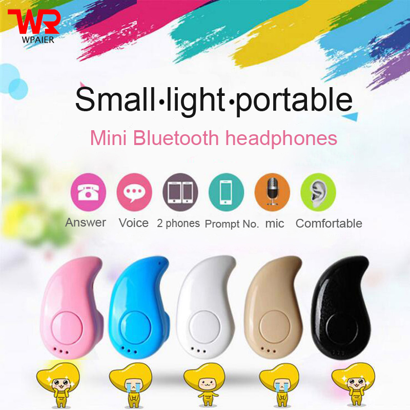 WPAIER S530 mini Bluetooth headphones portable Invisible bluetooth headsets monaural stereo Business office 3 hloes /1 hloe