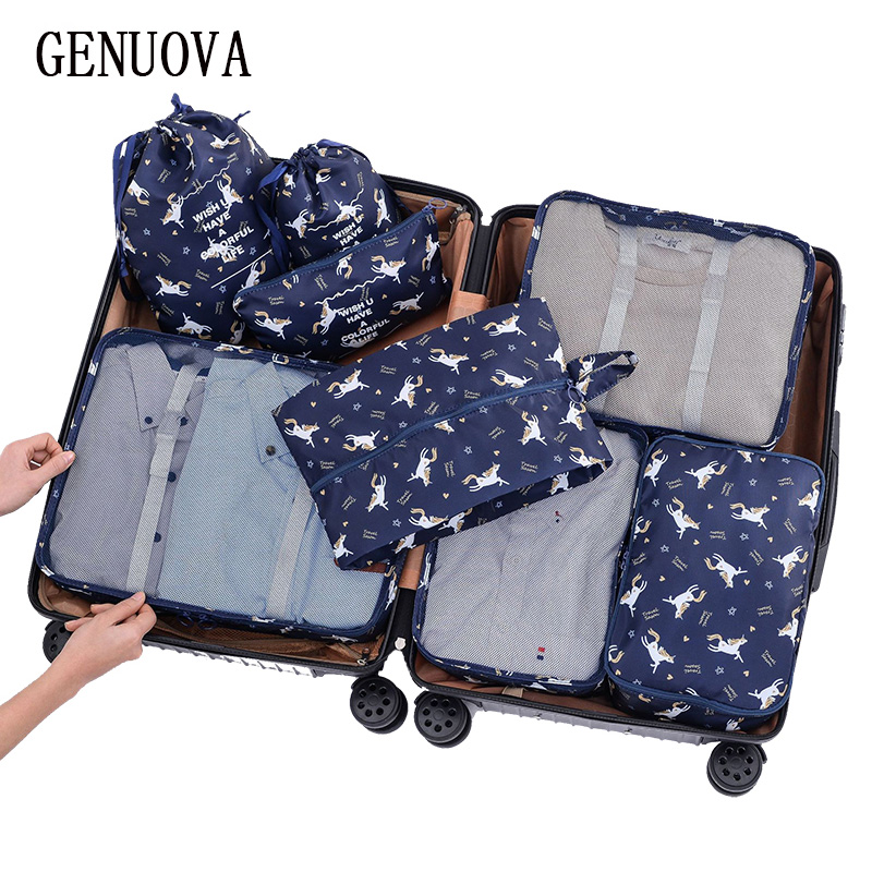 New 8 Pcs/Set Packing Cubes Travel Luggage Organizer Travel Bag Women's Clothing Big Bag Shoes Underwear Sorting Duffle Bags