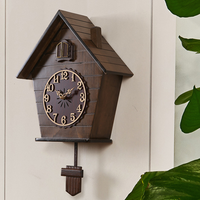 Personality Watch Wooden Wall Clock Parlor Creative Cuckoo Wall Watch Birds Smart Clock Bedroom Children Room And Living Room