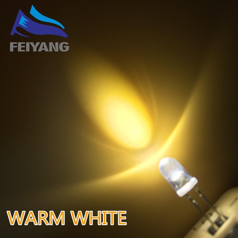 100pcs//lot F5 Round Water Clear 5mm White LED Super Bright Light Lamp Emitting