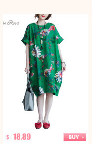 BelineRosa 2017 Big Sizes Women Clothing Bohemian Style Chinese Style Floral Printing Cotton Linen Dress 4XL 5XL HS000264 6