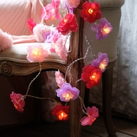 20Led 8 cm Peri Pembe Kırmızı Gül Çiçek Pil Işletilen Dize Işıkları 5 m LED Dekorasyon Noel Çelenk Için Yeni yıl gerlyanda