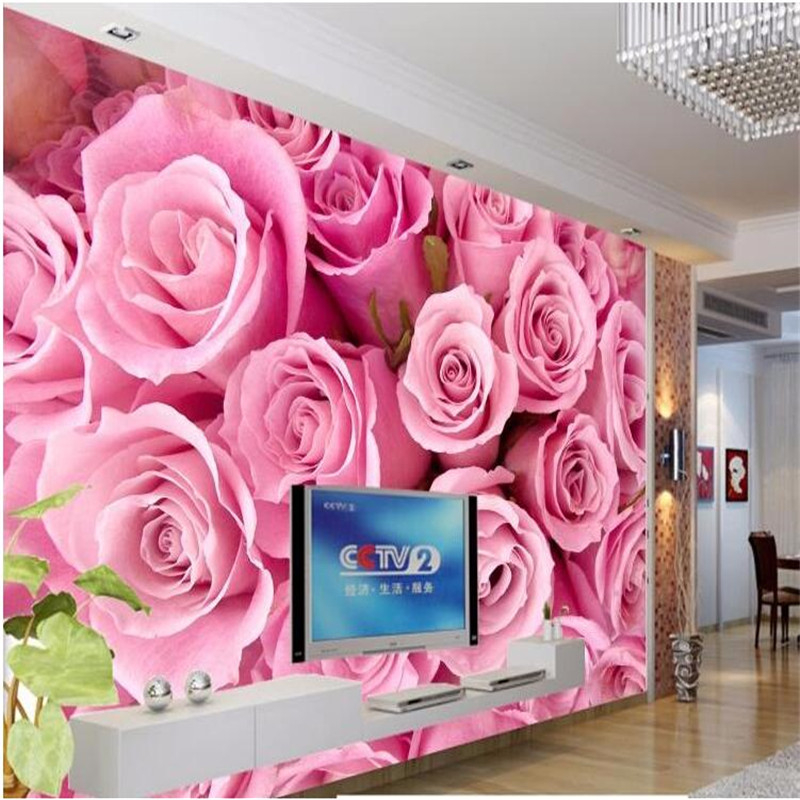 Beibehang Large Custom Wallpapers Made Of 3d Stereo Pink Roses