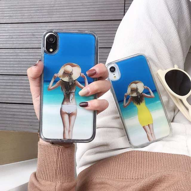 Funny Dynamic Change Clothes Pattern Case For iPhone 7 8 Plus X XS Max  Glitter Liquid Quicksand Back Cover Sexy Girl Phone Cases