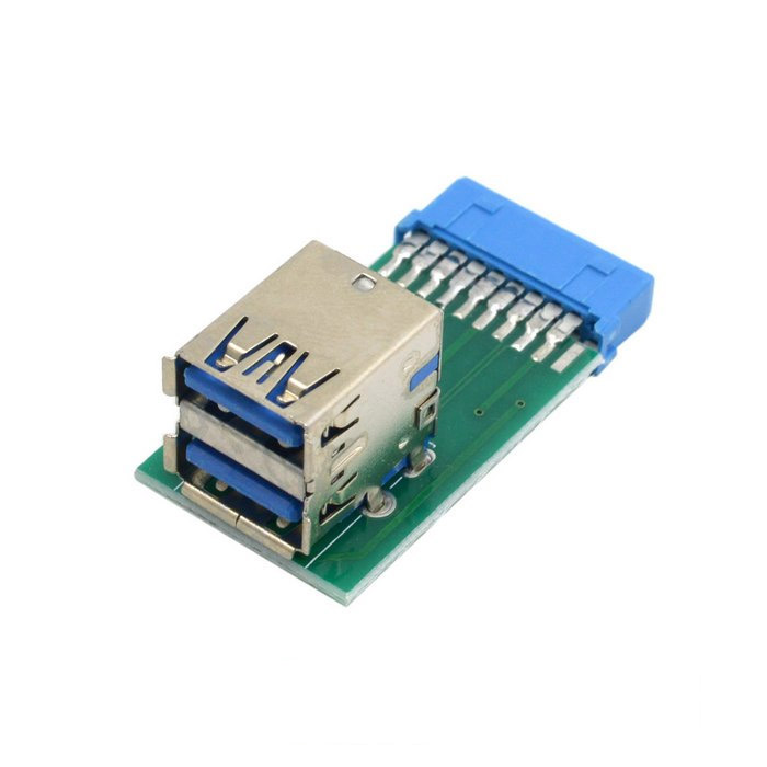 PC Case Internal <font><b>Motherboard</b></font> 19Pin Female to 2-Port Double Layer <font><b>USB</b></font> <font><b>3.0</b></font> A Female Adapter Converter <font><b>Connector</b></font> <font><b>USB</b></font> Gadget image