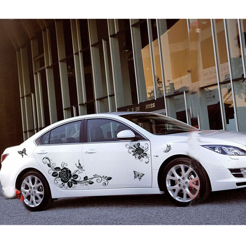 Beauty flowers and butterfly car whole body decoration - Car exterior decoration accessories ...