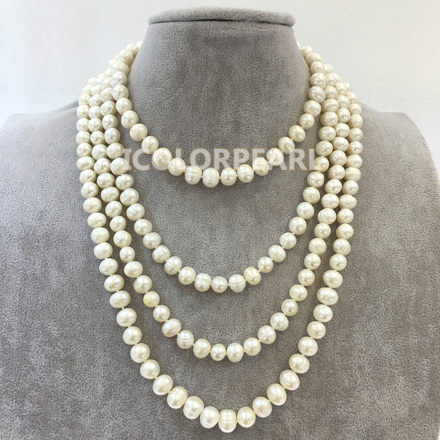 Longest 215-220cm  9-10mm Potato Shaped White Real Natural Freshwater Pearl Jewelry Sweater Necklace.