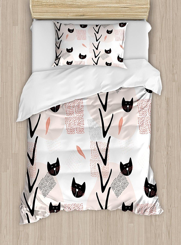 Современные постельное белье Twin Размеры милый кот лица с пунктирными, котята Животные Дети Детская тема темно коралловый