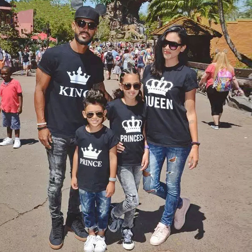 Household matching garments outfits look father mom daughter son king queen crown tshirt clothes daddy mommy and me child attire Matching Household Outfits, Low cost Matching Household Outfits, Household...