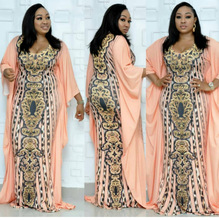 2019 new elegent fashion style african women printing plus size long dress