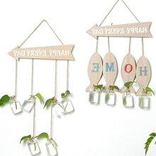 Творческий arrowhead гидропоники завода Кресс стекло вазы зеленый мини колбу Гостиная Декор настенный