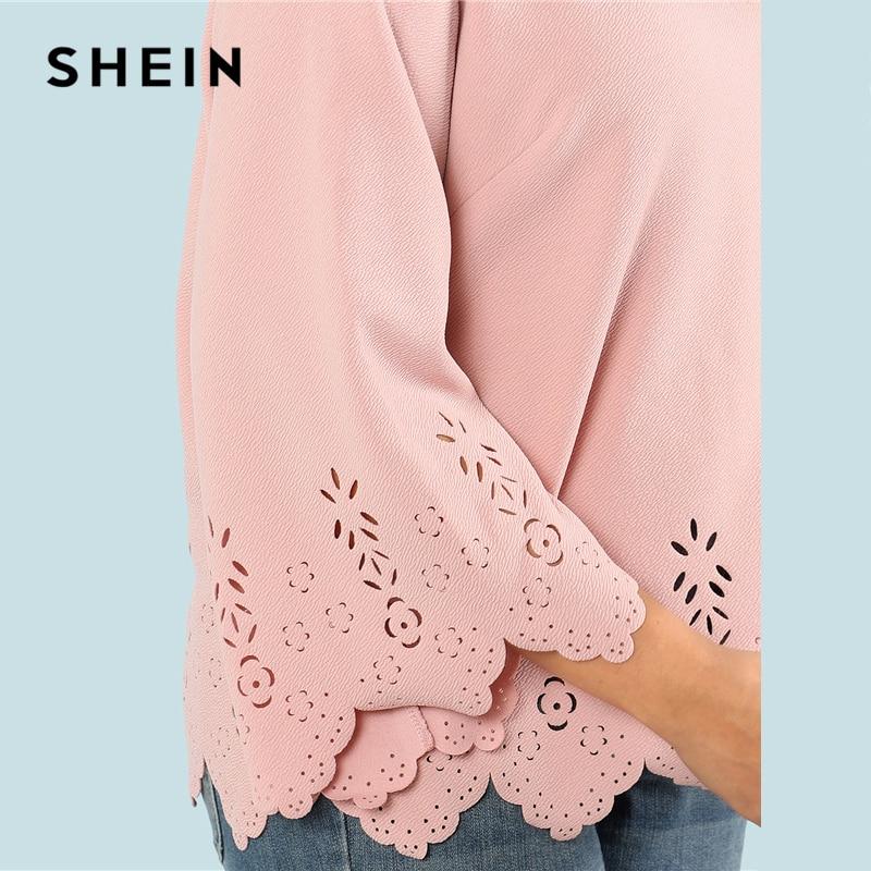 SHEIN Laser Cut Solid Top 2018 Summer Round Neck Three Quarter Length Flounce Sleeve Plus Size Blouse Women Elegant Pink Top 3