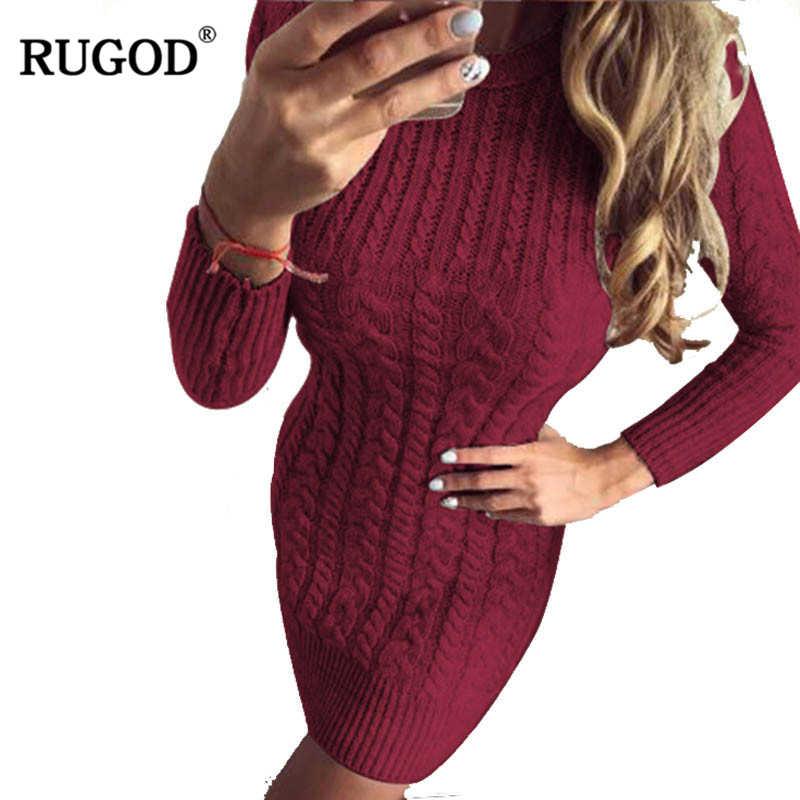 c30adaec7c5a4b7 RUGOD женский осенне-зимний свитер теплые вязаные платья тонкие эластичные  с круглым вырезом с длинным