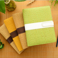 Cheng Jia Brand Straw Cover Notebook A5 Leather Spiral Binder Magnetic Office Weekly Planner Gift Travelers