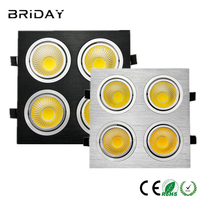 10pcs Super Bright Black Square Dimmable Led Downlight Light COB Ceiling Spot Light 28w 40w 48w