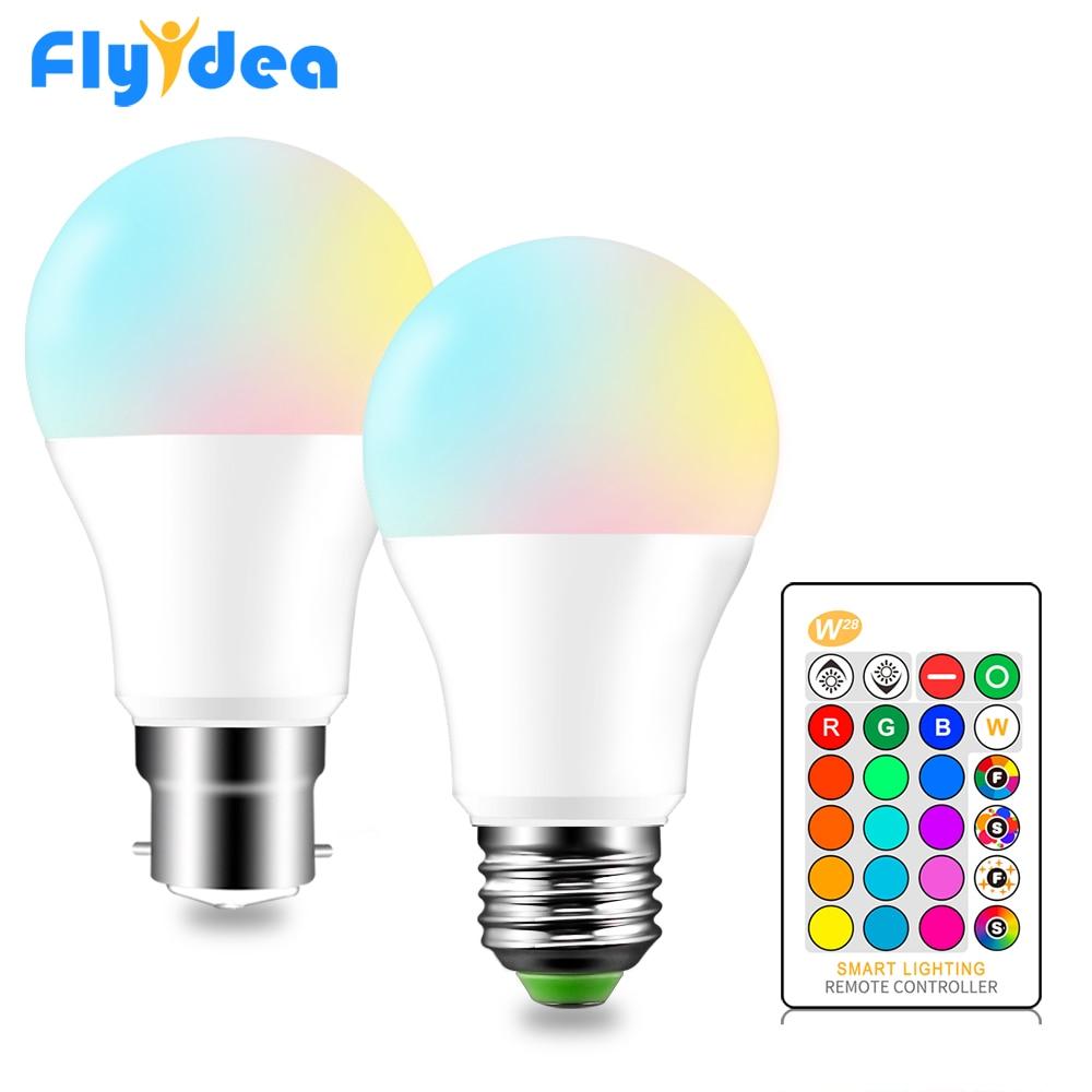 Bombilla LED RGB E27 B22 regulable 16 Color magia bombilla de luz 5 W 10 W 15 W AC 110 V 220 V RGB + blanco IR remoto inteligente pantalla 110V 220V E27 RGB bombillas de luz led 5W 10W 15W RGB lámpara cambiable colorida RGBW LED lámpara con Control remoto IR + Modo de memoria