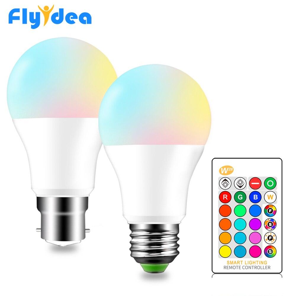 RGB LED Bulb E27 B22 Dimmable 16 Color Changing Magic Light Bulb 5W 10W 15W AC 110V 220V RGB + White IR Remote Smart LampadaRGB LED Bulb E27 B22 Dimmable 16 Color Changing Magic Light Bulb 5W 10W 15W AC 110V 220V RGB + White IR Remote Smart Lampada