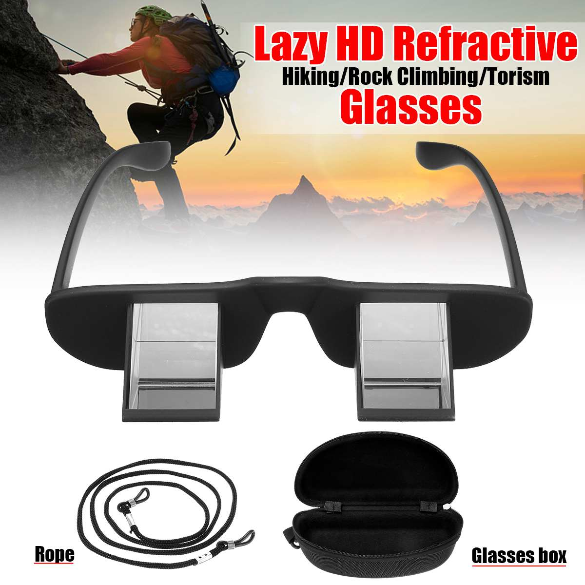 Lazy Refractive Glasses+Box+Rope Climbing Goggles Prism Spectacles Watching TV Great Choice For Hiking Rock Climbing Tourism