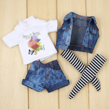 Наряд для куклы Blyth, комплект из джинсовой куртки West, футболка, носки и джинсовые штаны, костюм для куклы bjd icy dbs 1/6