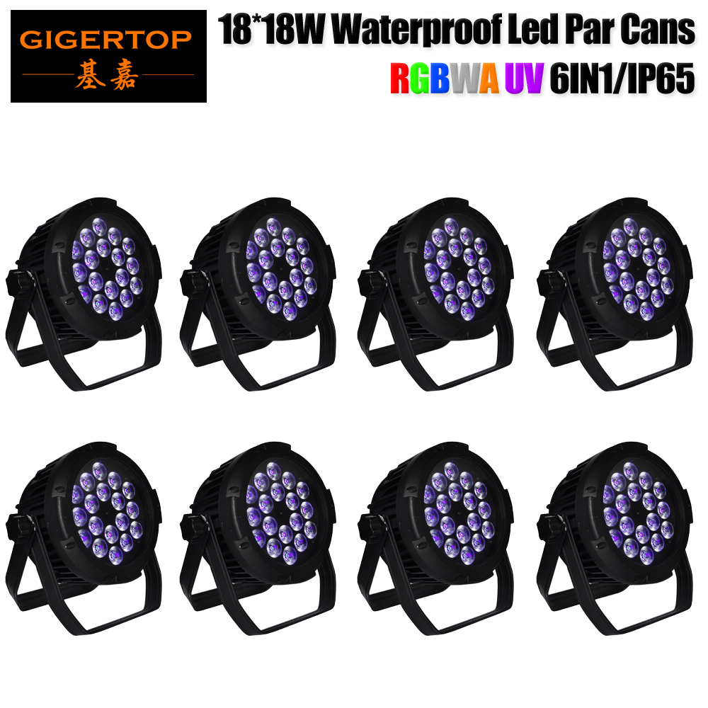 TIPTOP 8 Pack 18 Leds RGBWAP Par Lights Sound Activated DMX 512 Controller Waterproof Small Size Christmas Halloween Festival tiptop спиннер штурвал цвет розовый