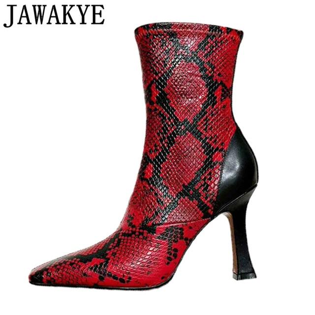 Yılan derisi yarım çizmeler kadınlar için yüksek topuklu kare ayak pist 2018 sonbahar kırmızı sarı seksi kısa botas mujer orta buzağı çizmeler bayan