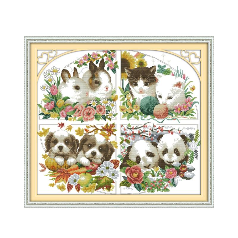 Four Seasons Animal Bunny Kitten Puppy Panda Handmade Sewing Thread Sewing Embroidery Cross Stitch Kit DecorationFour Seasons Animal Bunny Kitten Puppy Panda Handmade Sewing Thread Sewing Embroidery Cross Stitch Kit Decoration