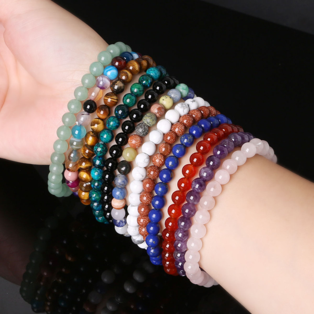 Bead Charm Bracelets: 6MM Natural Stone Loose Spacer Beads Bracelet Men Power