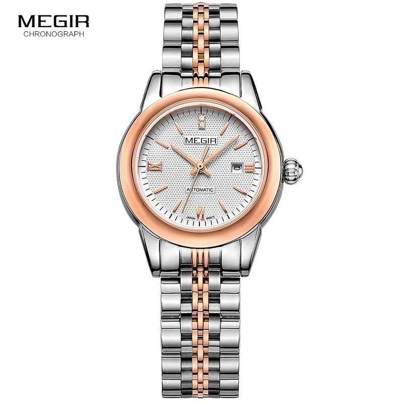 Reloj de pulsera MEGIR para mujer mecánico esqueleto reloj de pulsera 2019 moda Acero inoxidable Casual elegante mujer regalo RS62002LWhite-Rose - 2