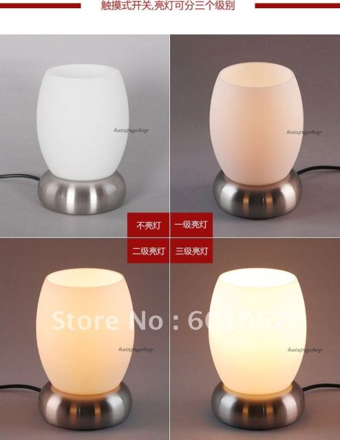 free shipping ,top quality touch type switch table lamp  top glass+top steel  table lamp , glass desk lamp,desk light