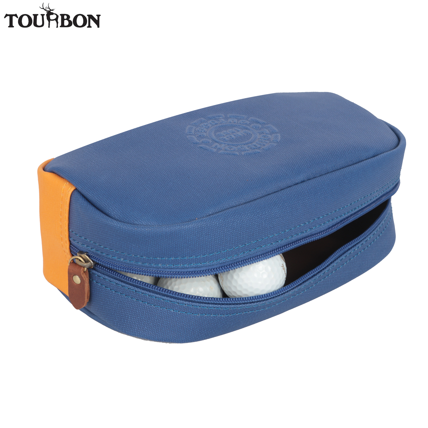 Tourbon Retro Sports Small Golf Ball Bag Carrier Balls Pouch Case Divot Tool Holder Vintage Canvas